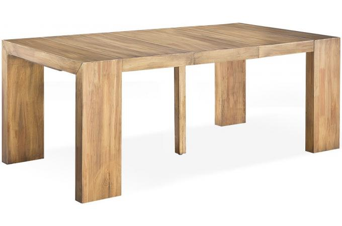 Table console extensible en bois massif cappucino for Table massif rallonge
