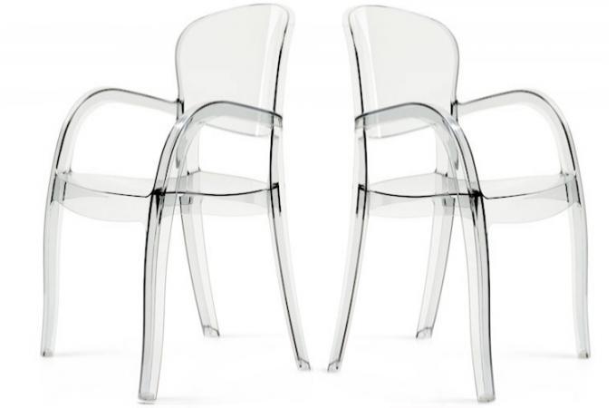 Lot de 2 chaises transparentes victor chaises design pas cher - Lot de chaise design pas cher ...