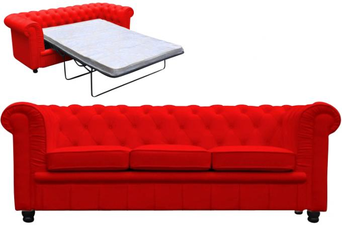 canap chesterfield convertible rouge avec matelas deco. Black Bedroom Furniture Sets. Home Design Ideas