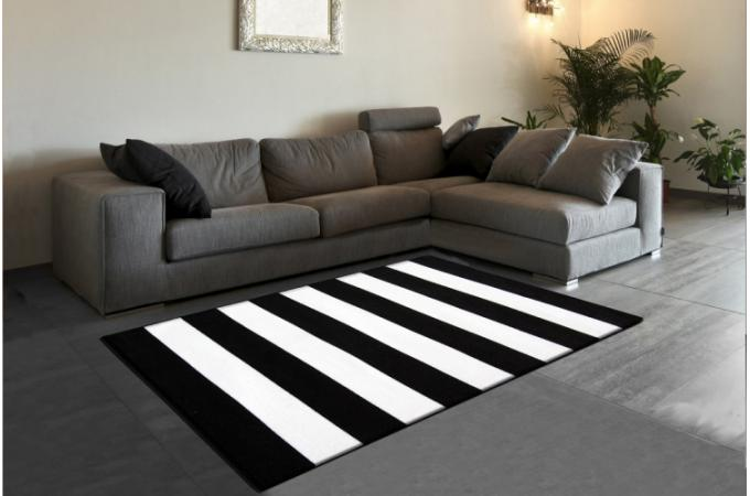 tapis design ray noir et blanc pas cher. Black Bedroom Furniture Sets. Home Design Ideas
