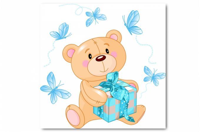 Tableau enfant ourson bleu 60x60 cm tableaux enfants pas for Tableau pour enfant pas cher