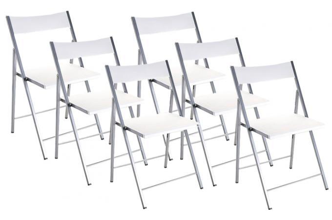 lot de 6 chaises pliantes blanches bilbao chaise pliante pas cher. Black Bedroom Furniture Sets. Home Design Ideas