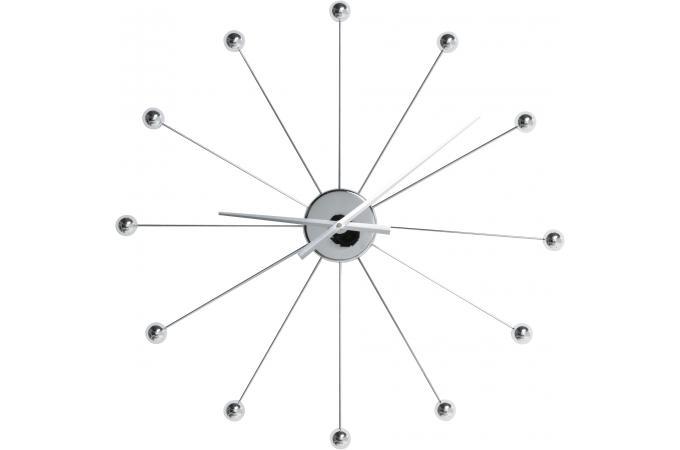 Horloge murale kare design argent e acier rochefort for Pendule murale design pas cher