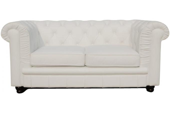 Canap chesterfield 2 places blanc james canap - Canape chesterfield blanc pas cher ...