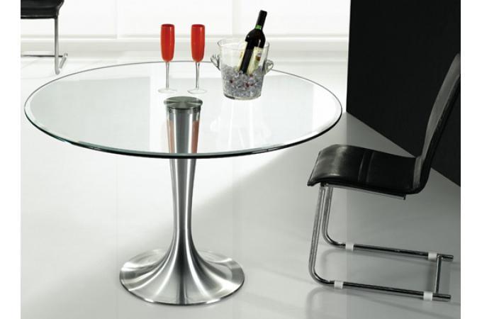Table en verre ronde iron effet chrom table d 39 appoint - Table ronde en verre pas cher ...
