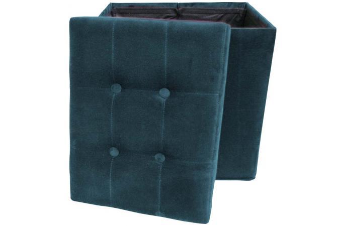 tabouret de rangement pliant velours bleu azur dolphin pouf design pouf g ant pas cher. Black Bedroom Furniture Sets. Home Design Ideas