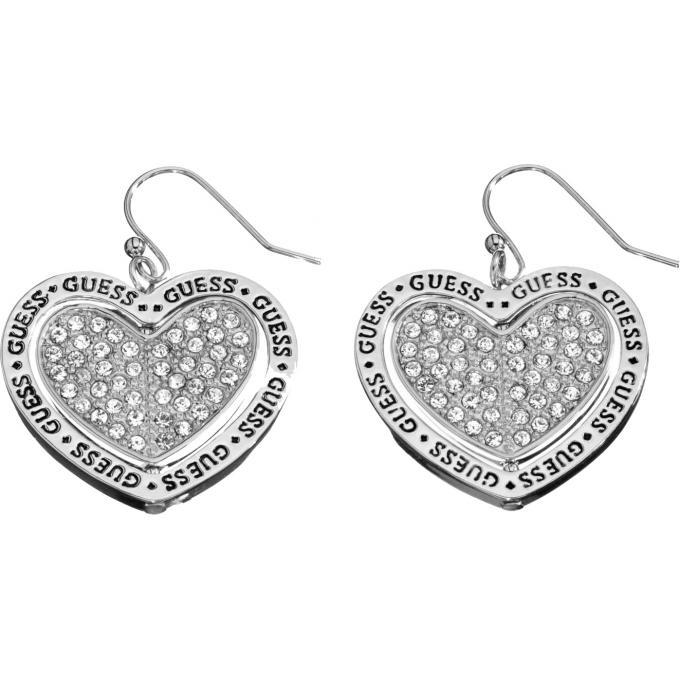 boucles d 39 oreilles coeur cristaux argent guess bijoux. Black Bedroom Furniture Sets. Home Design Ideas