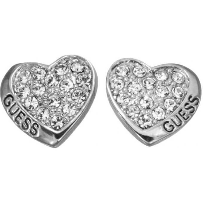 Boucles d oreilles Coeur Strass Argent - Guess   bijoux Guess Bijoux ... 0a786abd01f5