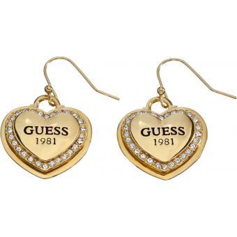 Boucles d'oreilles Dormeuses Coeur Dorées - Guess - Guess