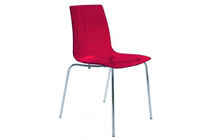 Chaise design transparente rouge arc design pas cher sur sofactory for Chaise factory rouge
