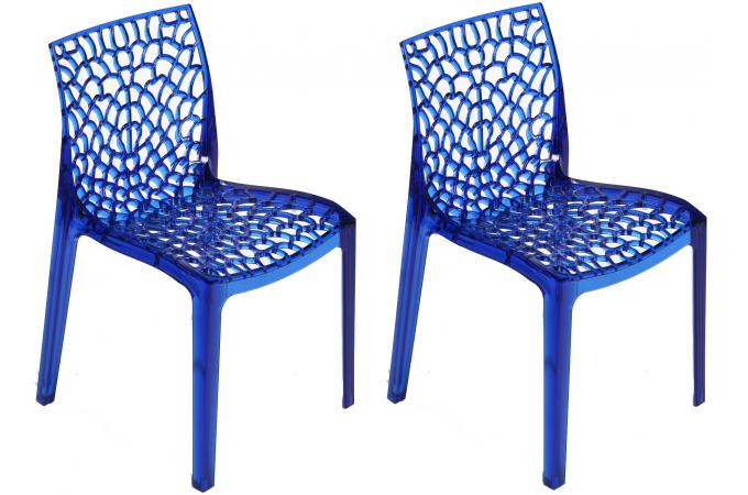 Lot de 2 chaises design transparentes bleues filet design - Lot de chaise design pas cher ...