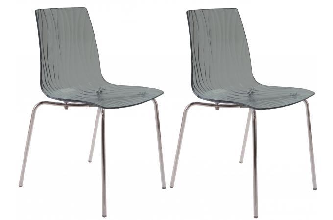 lot de 2 chaises design transparentes grises olympie chaise design pas cher. Black Bedroom Furniture Sets. Home Design Ideas
