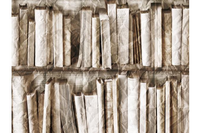 Papier peint trompe l 39 oeil biblioth que effet froiss for Trompe l oeil bibliotheque papier peint