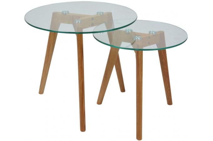 Lot de 2 tables marrons en verre collin table d 39 appoint - Table d appoint transparente ...