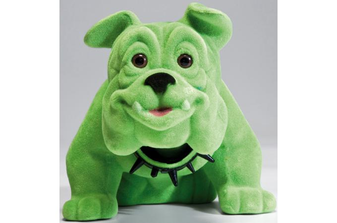 Figurine kare design chien bouledogue assis vert statue - Statue design pas cher ...
