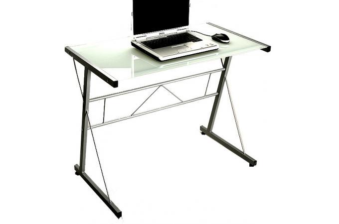 Table d 39 ordinateur blanche en verre geminy bureau pas cher - Meuble ordinateur verre ...