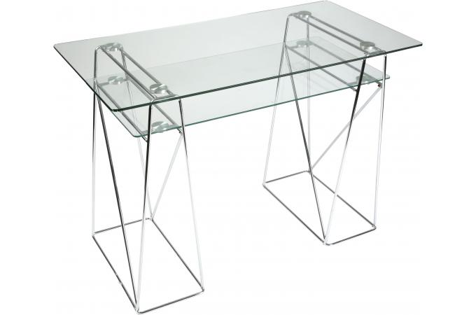 table d 39 ordinateur transparente en verre carmelo bureau. Black Bedroom Furniture Sets. Home Design Ideas