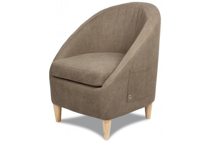fauteuil pocket taupe en toile juliana fauteuil design pas cher. Black Bedroom Furniture Sets. Home Design Ideas