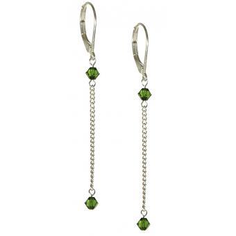 Boucles d'oreilles Pendantes Argent Vert - Amélie Blaise - Amélie Blaise