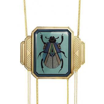 Collier et pendentif Scarabée Doré Turquoise - Amélie Blaise - Amélie Blaise