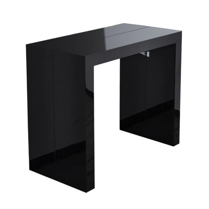 Table console noire laqu e 3 rallonges carla table console pas cher - Console laquee noire ...