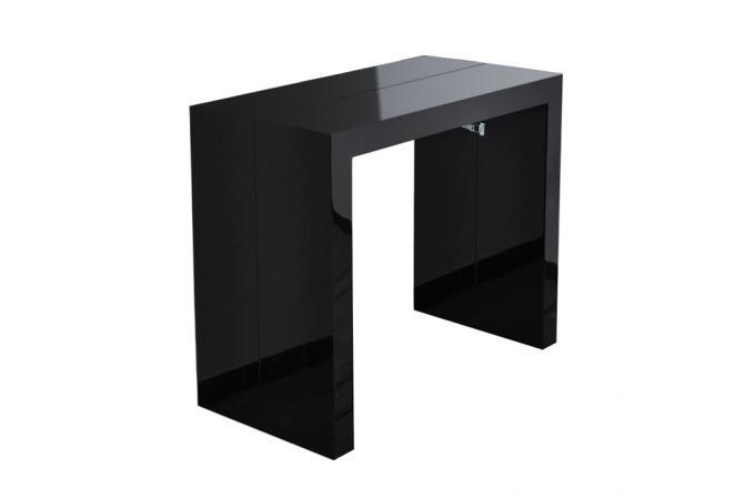 Table console noire laqu e 3 rallonges carla table console pas cher - Console extensible laquee noire ...
