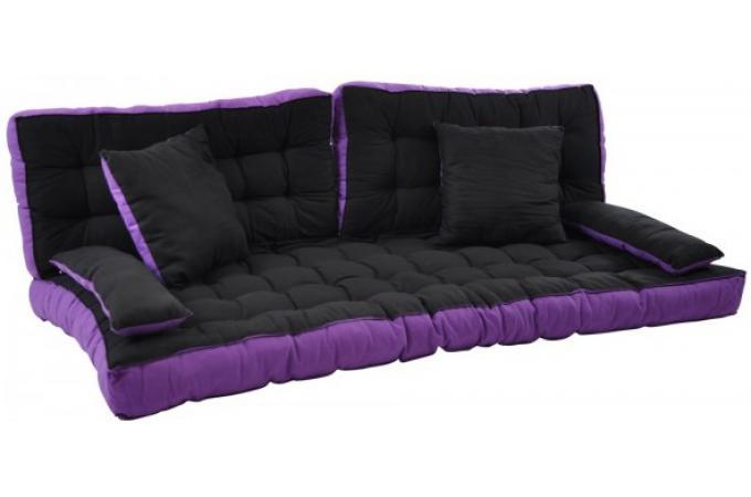 Matelas futon pour clic clac avec 4 coussins 100 coton cm noir et viole - Matelas futon pour clic clac ...