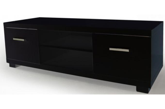 Meuble tv 2 tiroirs 2 niches laqu noir triange meuble for Petit meuble tv noir