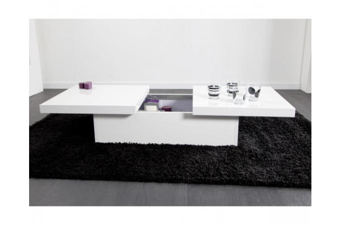 Table basse blanche 2 plateaux coulissants triange table for Table basse pas cher design