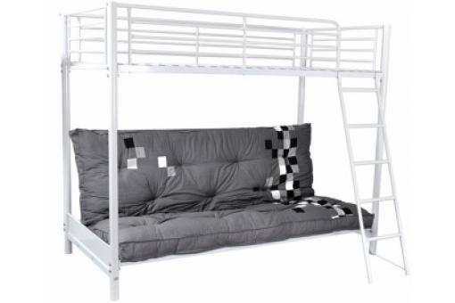 lit mezzanine blanc 90x190 avec canap clic clac lust lit design pas cher. Black Bedroom Furniture Sets. Home Design Ideas