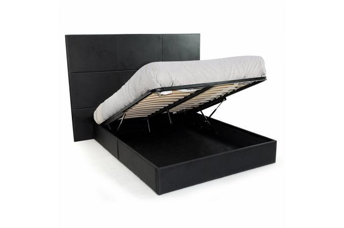 Lit coffre 160x200 sommier design noir sleep lit design pas cher - Lit coffre noir ...