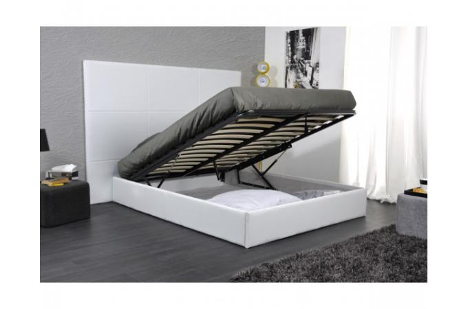 lit coffre 160x200 t te de lit design blanc sleep lit. Black Bedroom Furniture Sets. Home Design Ideas