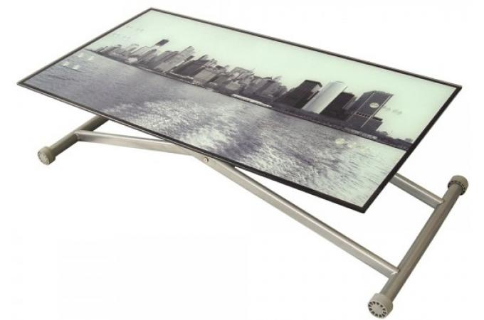 Table basse relevable plateau en verre imprim new york - Table basse plateau relevable pas cher ...