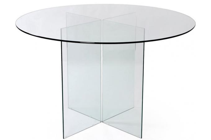 Table repas ronde en verre transparent otta table manger pas cher - Table ronde en verre pas cher ...
