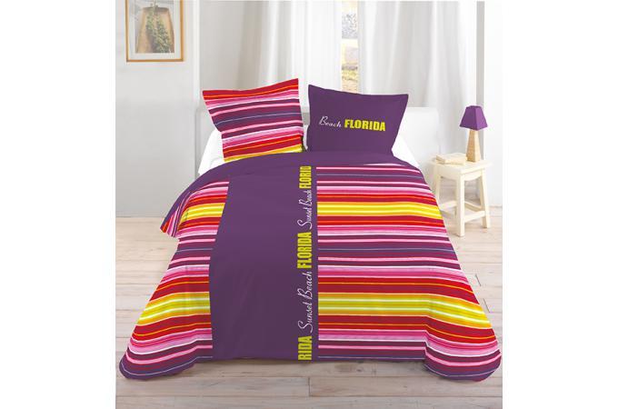 housse de couette rayures violettes et jaunes 240x220 et ses deux taies d 39 oreiller housse de. Black Bedroom Furniture Sets. Home Design Ideas