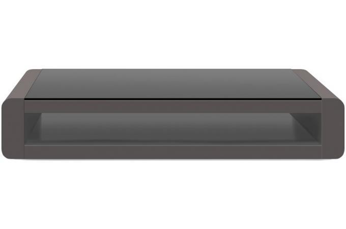 table basse grise plaqu e bois avec plateau en verre fum willy table basse pas cher. Black Bedroom Furniture Sets. Home Design Ideas