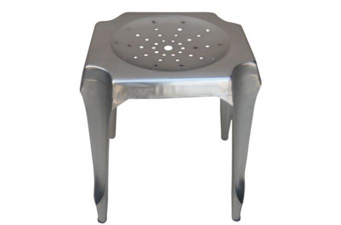 tabouret bas argent en acier faith petit tabouret pas cher. Black Bedroom Furniture Sets. Home Design Ideas
