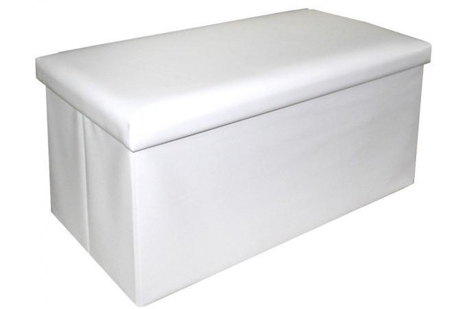 pouf rectangulaire blanc en similicuir johara pouf design pouf g ant pas cher. Black Bedroom Furniture Sets. Home Design Ideas