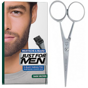 Just For Men - PACK COLORATION BARBE CHATAIN FONCE ET CISEAUX A BARBE - Coloration homme chatain fonce