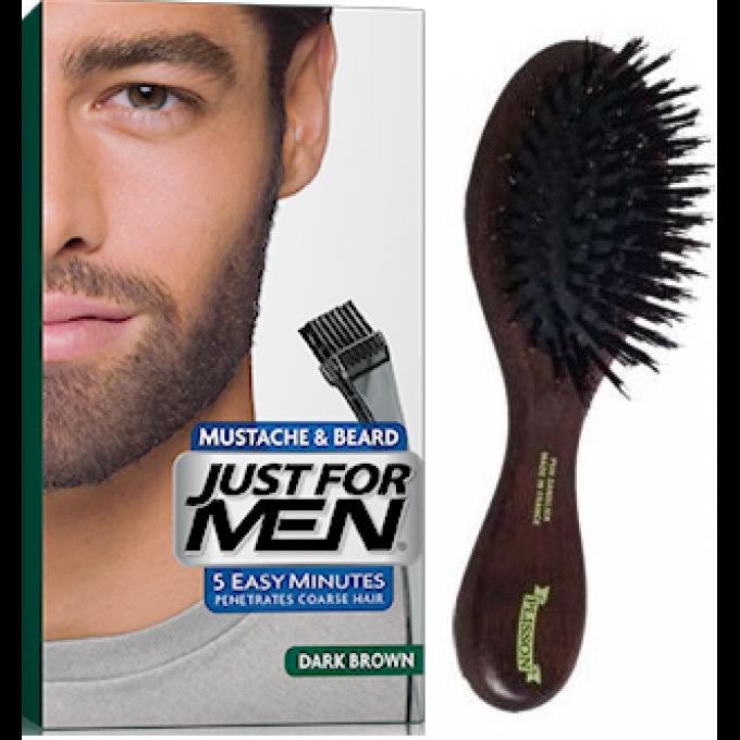 pack coloration barbe chatain fonce et brosse barbe couleur naturelle just for men. Black Bedroom Furniture Sets. Home Design Ideas