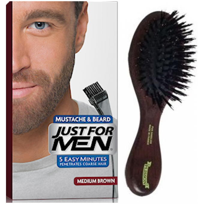 pack coloration barbe chatain et brosse barbe just for men - Coloration Pour Barbe