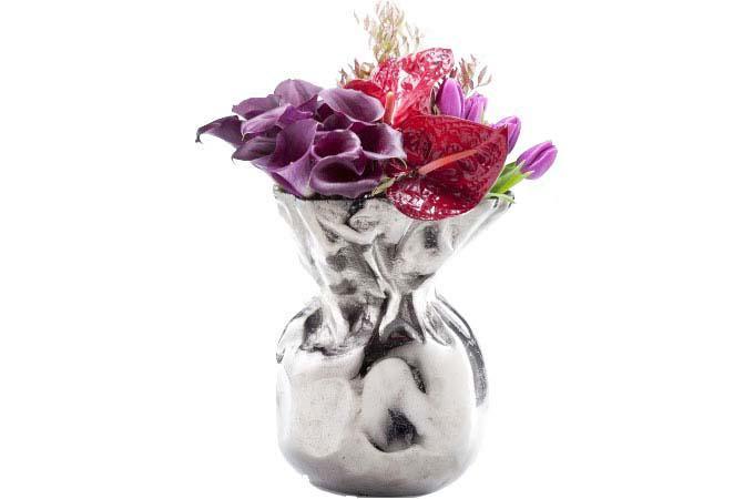 vase argent kare design en aluminium ruby vase pas cher. Black Bedroom Furniture Sets. Home Design Ideas