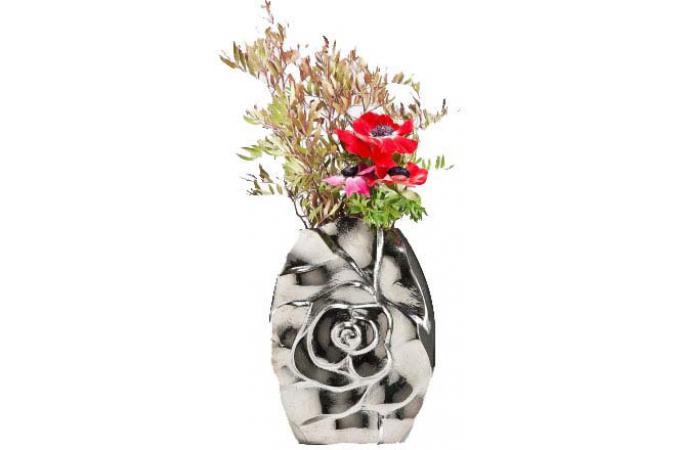 vase argent kare design en aluminium roma vase pas cher. Black Bedroom Furniture Sets. Home Design Ideas