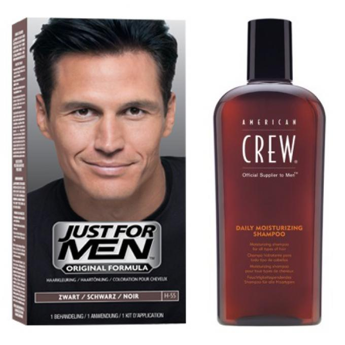 Coloration Cheveux Shampoing Noir Naturel Pack Just For Men