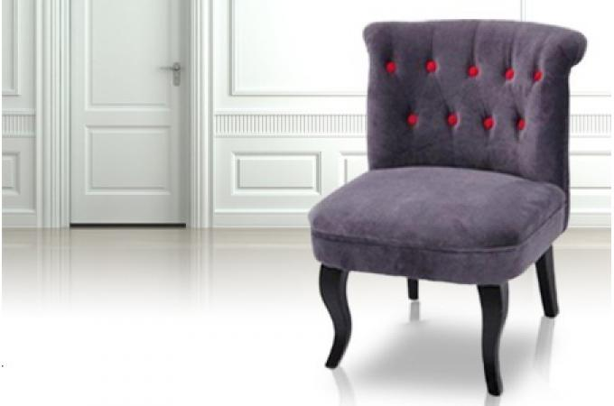 fauteuil old engand moderne gris avec boutons rouge. Black Bedroom Furniture Sets. Home Design Ideas