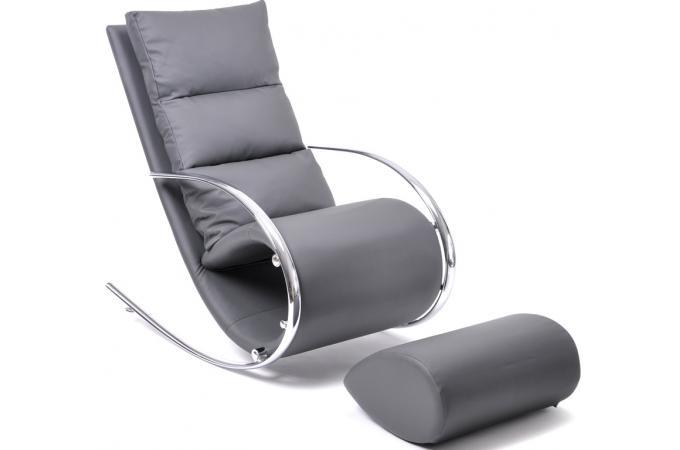 best produit rocking chair moderne et design en simili cuir gris fauteuil design pas cher. Black Bedroom Furniture Sets. Home Design Ideas