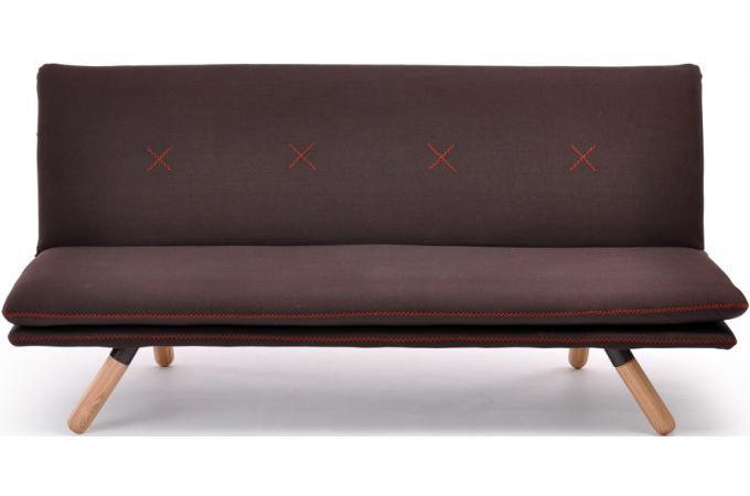 Banquette lit h v a tissu imitation cuir chocolat canap 2 places pas cher - Banquette cuir design ...