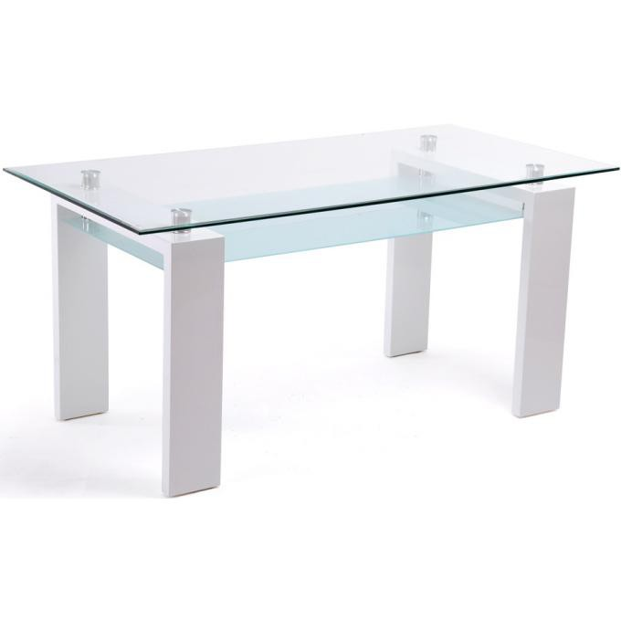 Table rectangulaire plateau en verre blanche table - Table rectangulaire en verre ...