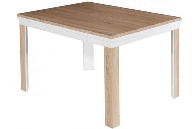 Table extensible rectangulaire blanche avec plateau verre - Table laquee extensible ...
