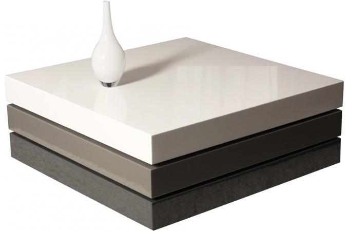 Table carr e laqu e gris blanc table basse pas cher - Table carree laquee blanc ...